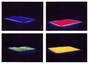 Drieaaeenoo (met Peter Simons), hout, doek, licht, pigment, gras. 8 Installaties, Nijmegen, 1988