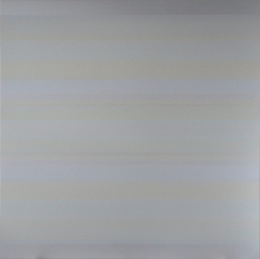 Study in six colours and primes, v 4; 2016; acrylic on aluminium; 100 x 100 cm